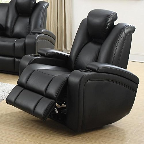 Coaster Home Furnishings  Delange Modern Power Motion One Seater Recliner with Power Headrest Storage Arms - Black Faux Leather - Coaster Furniture Recliner