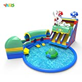 YARD Large Inflatable Water Park with Water Slide Tunnel Disco Boat Pool offers