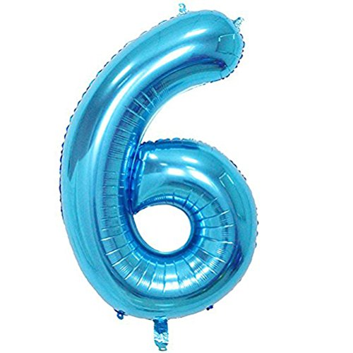 Tellpet Blue Number 6 Balloon, 40 Inch