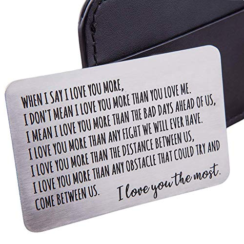 Wallet Insert Card Anniversary Gifts For Men Husband From Wife Girlfriend Boyfriend Birthday Gifts Metal Mini Love Note Valentine Wedding Gifts For Groom Bride Him Her Deployment Gifts (Gifts Christmas Wife Sentimental For)
