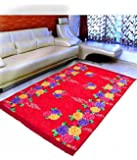 "Warmland Floral Velvet Carpet - 60""x84"", Red"