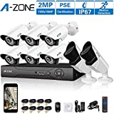 A-ZONE 8Channel 1080P DVR AHD Security Camera System W/ 6x HD 1080P 2.0MP waterproof Night vision Fixed bullet Camera & 2x HD 2.0MP Varifocal Camera IR 2.8-12mm Lens Camera