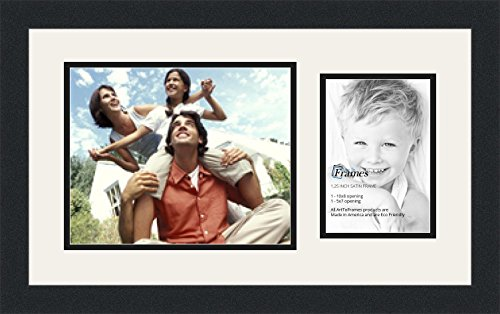 ArtToFrames Collage Photo Frame Double Mat with 1-5x7, 8x10 Openings and Satin Black ()