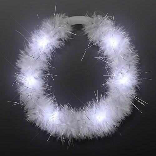 Light Up White Marabou Feather Angel Halo Headband with White LED Lights -