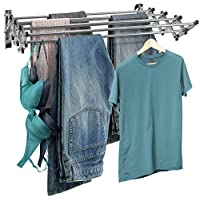 Sorbus Clothes Drying Rack, Wall Mounted Space-Saver, 8 Bar Racks Great Organization for Laundry Room, Mudroom, Bedroom, Pool Area, 60 Pound Capacity 22.5 Linear Ft