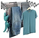 Sorbus Clothes Drying Rack, Wall Mounted Space-Saver, 8 Bar Racks Great Organization Laundry Room, Mudroom, Bedroom, Pool Area, etc