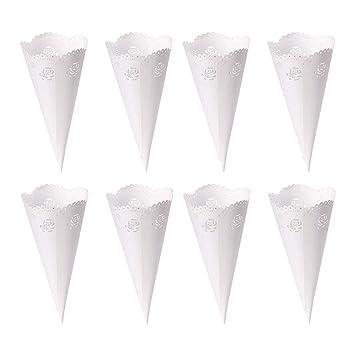 Cymax 50 Pcs Blanco Conos de Bombones para Guardar Arroz, Caramelos, Galletas Pequeñas Regalo, Detalle, Recuerdo, Decoración, Invitados de boda ...