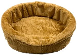 Dog Bed King USA Medium Tan Plush Fur Dog Ortho Comfort Bed, 27-Inch by 21-Inch by 7-Inch