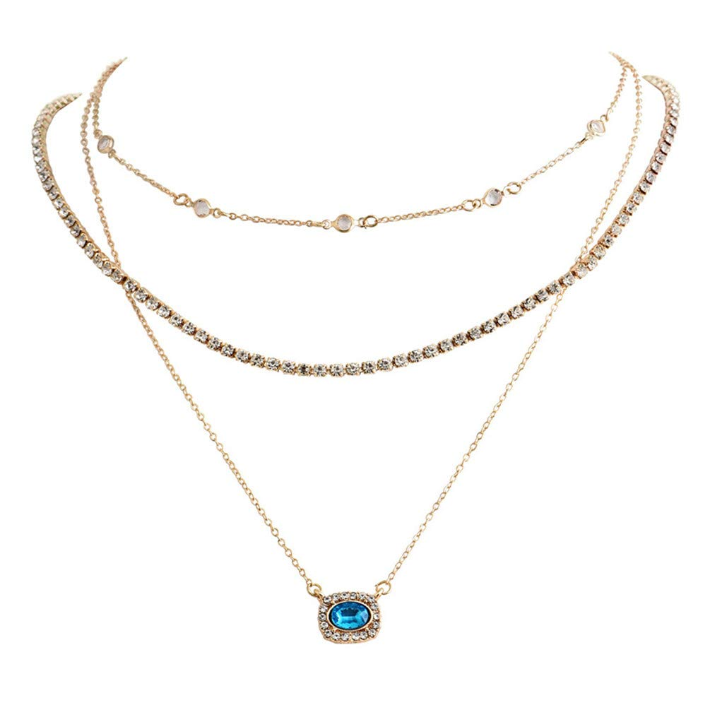 LANWF Multi-Layer Necklace Rhinestone Pendant Chain Necklace Bohemian Parties Jewelry Accessories Gift