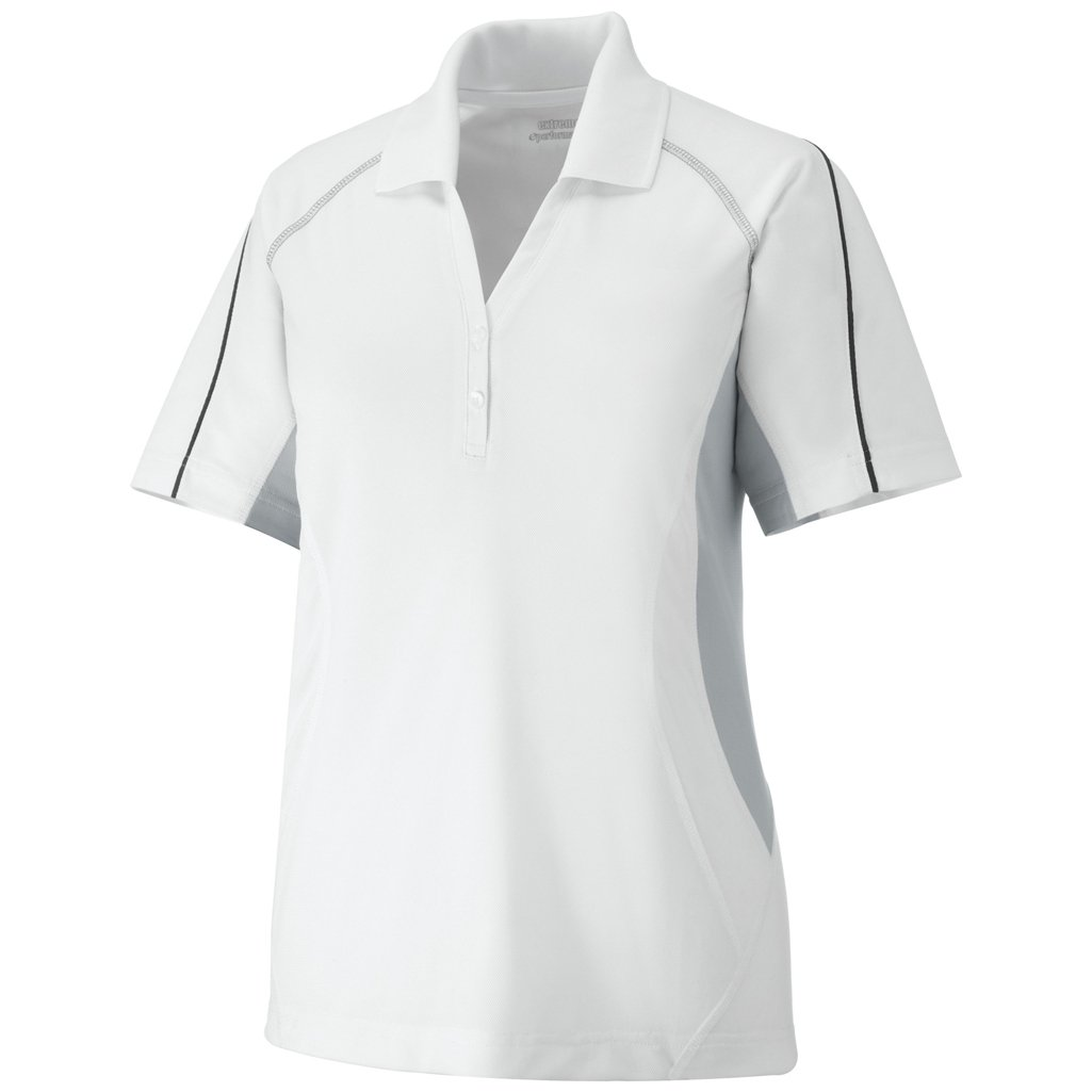 Ash City Ladies Parallel Polo (Small, White/Grey Lustre/Black Silk) by Ash City Apparel