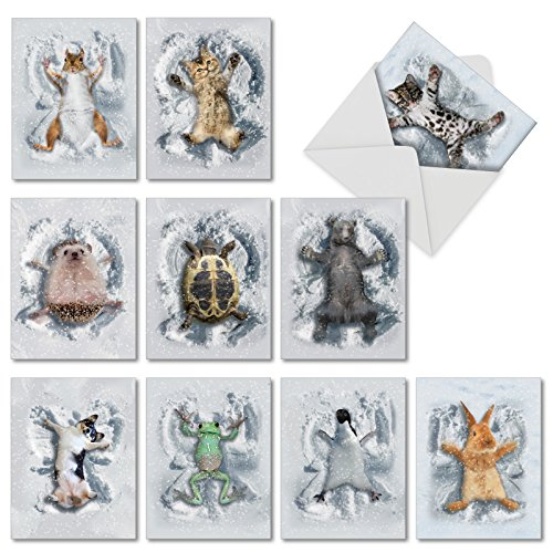 10 'Critter Snow Angels' Adorable Animal Note Cards with Envelopes, All Occasion Stationery Set, Blank Greeting Cards for Holidays, Birthdays, Baby Showers, Thank Yous (4 x 5.12 Inch) M4187OCB-B1x10