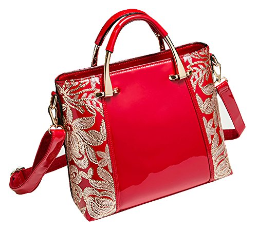 Tote Burgundy Shoulder Leather Bag Fashion Flower Zip Sequin With Bag High Red Himaleyaz Handbag Patent grade Women wPqFq4Z