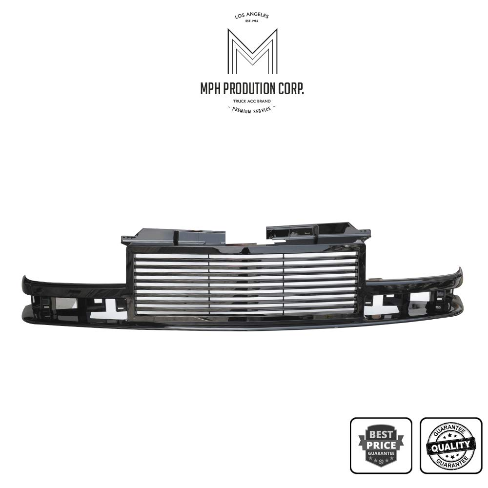 MPH Autoparts Matte Black Horizontal Front Hood Bumper Grill Grille ABS Fit For 1998 1999 2000 2001 2002 2003 2004 98-04 Chevy S10 Blazer S10 Pickup