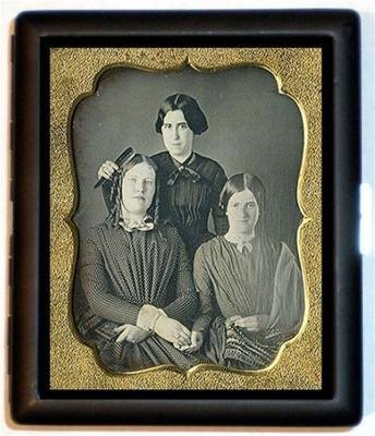 Victorian Sisters Daguerreotype Photograph ID Wallet or Cigarette Case