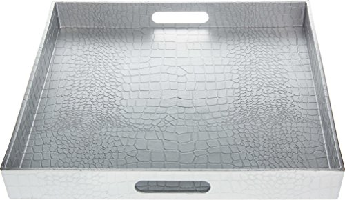 Fantastic:) Square Alligator Serving Tray with Matte Finish Design (1, Square Alligator Silver)]()