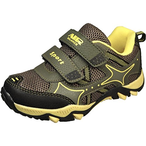 Air Balance Boys Youth Black/Yellow Double Velcro Cool Fashion Sneakers