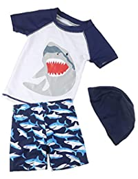14df8caaaf8a5 Baby Boys Two Piece Swimsuits Rash Guard Short Sleeve Shark Bathing Suit  Swimwear Sets with Hat