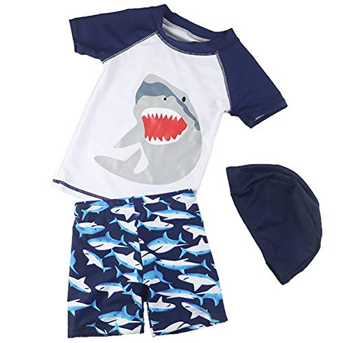 (Baby Boys Two Piece Swimsuits Rash Guard Short Sleeve Shark Bathing Suit Swimwear Sets with Hat UPF 50+ for Kids (White Shark, 2-3 Years))