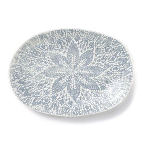 (Viva Lace Small Oval Platter - Gray )