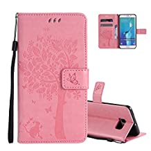 Galaxy S6 Edge Wallet Case Cover Embossed Flower Cat Wishing Tree Design Aeeque Shockproof Folio Flip Phone Cases Slim Fit Bumper Full Protection Cover Case for Samsung Galaxy S6 Edge, Pink