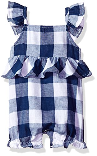 - Mud Pie Baby Girls Gingham Flutter Sleeve Bubble Romper Playwear, Blue, 12-18 Months