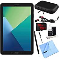 Samsung Galaxy Tab A 10.1 Tablet PC Black w/ S Pen 16GB Bundle includes Tablet, 16GB MicroSD Card, Microfiber Cloth, Cleaning Kit, Stylus Pen with Clip, Case for Tablets and Metal Ear Buds