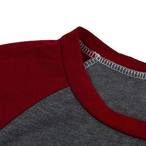 Amlaiworld Baumwolle herbst Frühling bunt Flickwerk Langarmshirt locker damen Gemütlich Bluse Freizeit elegant Tops sport weich Oberteile Tasche shirt Rot