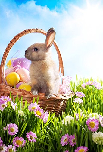 Laeacco 5x7ft Vinyl Backdrop Easter Bunny Photography Background Easter Basket Decorated Eggs Grass Blooming Wild Florets Field Cute Rabbit Scene Nature Landscape Children Portrait Photo Studio Prop