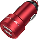 RAVPower USB Car Charger 24W 4.8A Metal Dual Car Adapter for iPhone X 8 Plus, Galaxy S9 S8 Plus S7 S6 Edge, Note 8, LG, Nexus, HTC with iSmart 2.0 Tech - Red