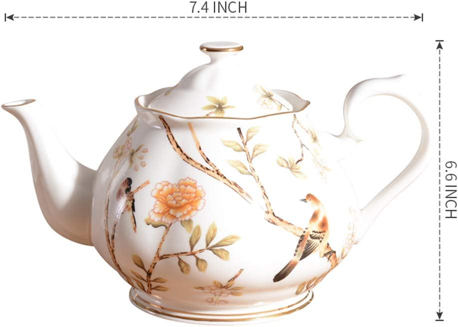 Beige Teapot Brown Edging with Floral Design