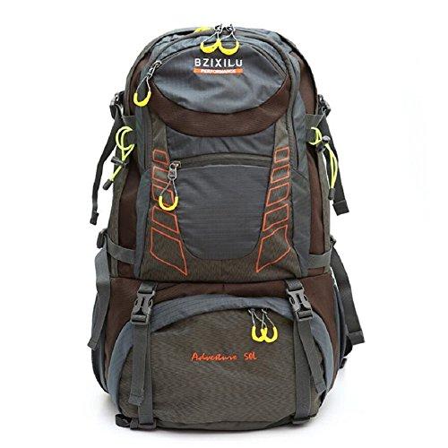 ZC&J Los hombres al aire libre y la mochila general de las mujeres, 50L de gran capacidad de viajes de montaña de viaje, anti-desgaste desgarro correa cinturón ajustable mochila,D,50L E