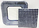 Fourth of July Blue Gingham Picnic Bundle 9 Inch Square Plates and 7 Inch Square Napkins