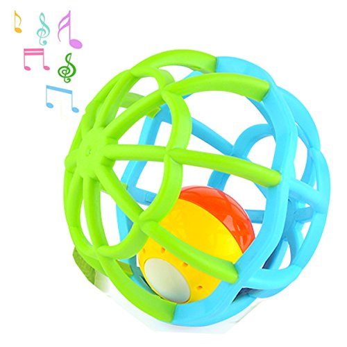 Music and Colorful Lights Soft Activity Ball Baby toddler Infant Teether Rattles Teething Goodway Bed Bells Toy, (Sound Ball Baby Toy)