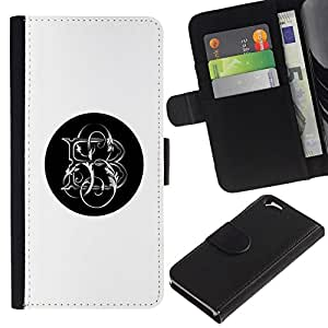 All Phone Most Case / Oferta Especial Cáscara Funda de cuero Monedero Cubierta de proteccion Caso / Wallet Case for Apple Iphone 6 // minimalistas blancos iniciales carta negro