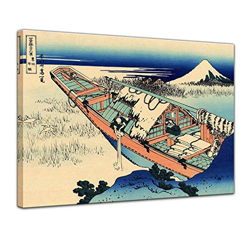 LVLUOYE Modern Wall Art Canvas Decor - Canvas Wall Painting - Framed Artwork Photo - Katsushika Hokusai - Famous Japanese Master - Bedroom Living Room Office Stretched Canvas,46x36cm