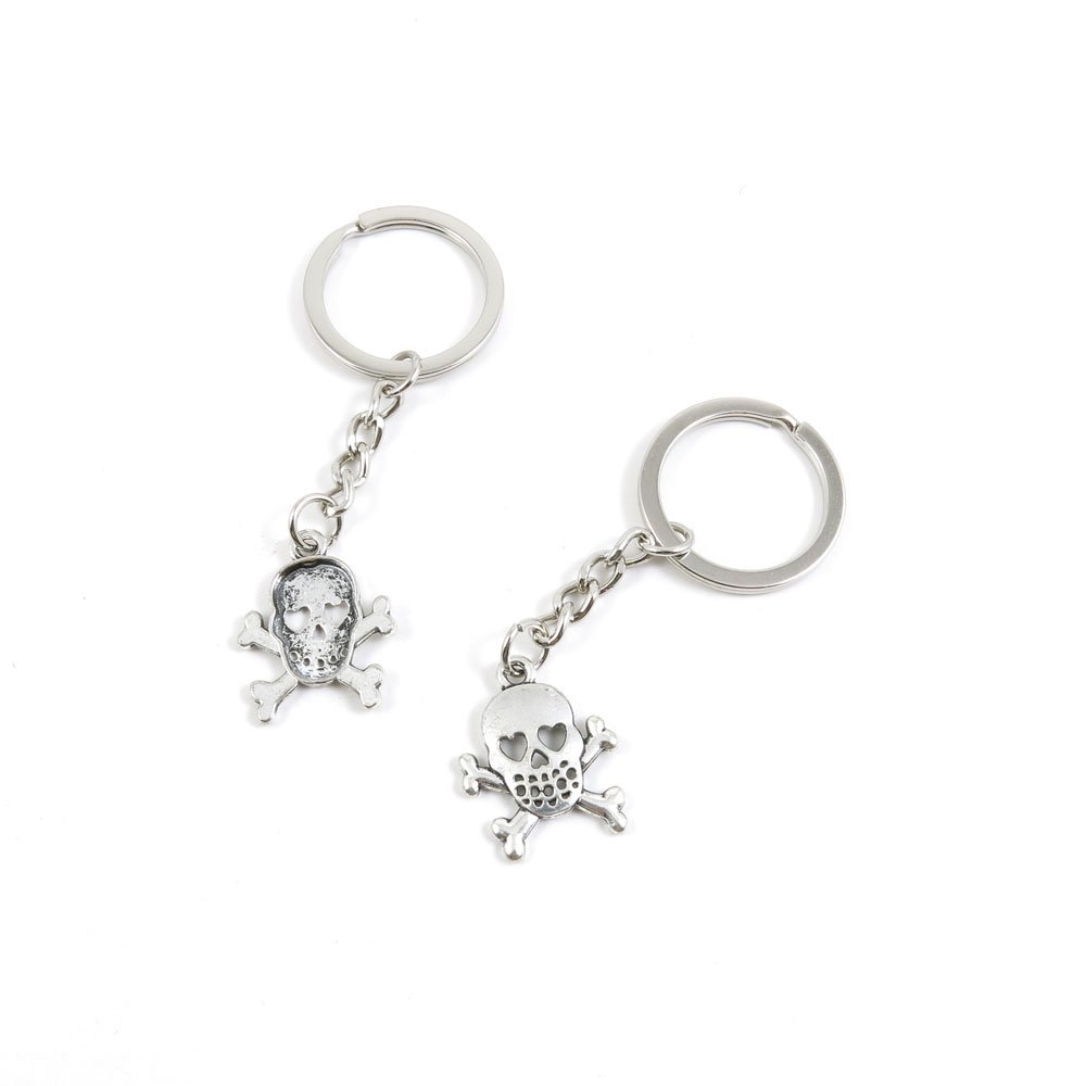 100 Pieces Keychain Door Car Key Chain Tags Keyring Ring Chain Keychain Supplies Antique Silver Tone Wholesale Bulk Lots D5WX1 Skull Love
