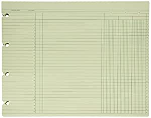 """Wilson Jones Green Columnar Sheets, Single Page Format, 3 Columns, 30 Lines Per Page, 11-7/8"""" X 9-1/4"""", 100/Pack, WG10-3A"""