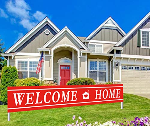 (Colormoon Large Welcome Home Bunting Banner, Homecoming Family Party Supplies Decorations, Red, White, Outdoor Indoor (9.8 x 1.5)