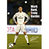 Cristiano Ronaldo #43 - motivational - signed (copy) A3 poster - world player of the year - football - Real Madrid logo background - A3 poster - print - picture by Salopian Sales