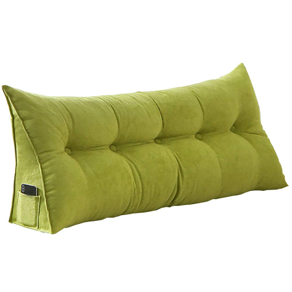LIXIONG Headboard Bed Backrest Cushion Soft Case Rectangle Triangle Sofa Backrest Cotton Single/Double Recreation Area Easy to Remove and Wash,4 Colors, 7 Sizes (Color : Green, Size : 80cm)
