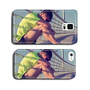 Tired/injured jogger on a big bridge. cell phone cover case Samsung S6