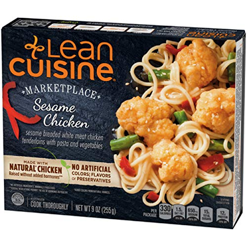 Lean Cuisine Marketplace Sesame Chicken with Pasta - Frozen Meal with 12g of Protein and No Artificial Colors, Flavors or Preservatives, Made with Natural Chicken Raised without Added Hormones (9 oz.)
