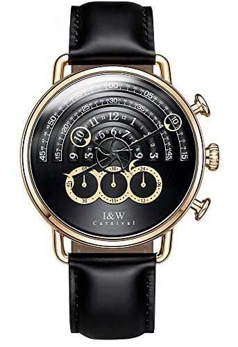 tz Chronograph Sport Watches for Men Gold Black Dial Leather Band (Black) ()