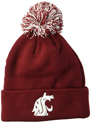 (Zephyr Adult Men Pom Knit Beanie, Team Color, Adjustable )