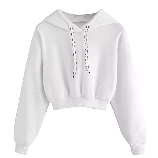 0bd2d9a30f5ea8 Amazon.com: Hoodie for Girls, Misaky Autumn Winter Casual Faux Fur  Drawstring Pullover Crop Top Blouse(White ,Medium): Clothing