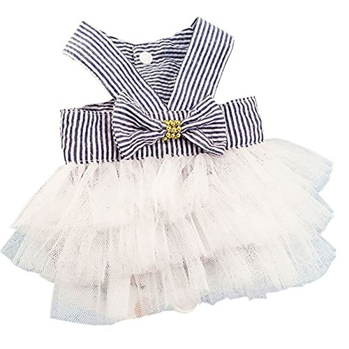 Moya Summer Dog Cat Striped Clothes Puppy Bowknot Lace Costume Pet Slip Dress