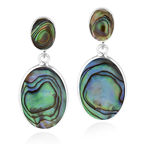 Classy Double Oval Abalone Shell Inlay .925 Sterling Silver Post Drop Dangle Earrings