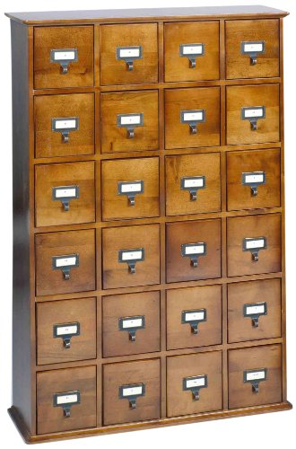 LDE LESLIE DAME Leslie Dame CD-456W Solid Oak Library Card File Media Cabinet, 24 Drawers, Walnut - Cabinet Walnut Pulls