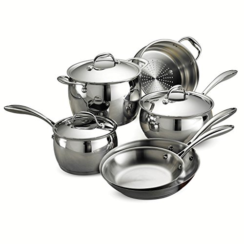 Tramontina 80102/201DS Gourmet Domus Stainless Steel, Induction-Ready, Impact-Bonded, Tri-Ply Base Cookware Set, 9 Piece, Made in Brazil (Stainless Cookware Tramontina Steel)