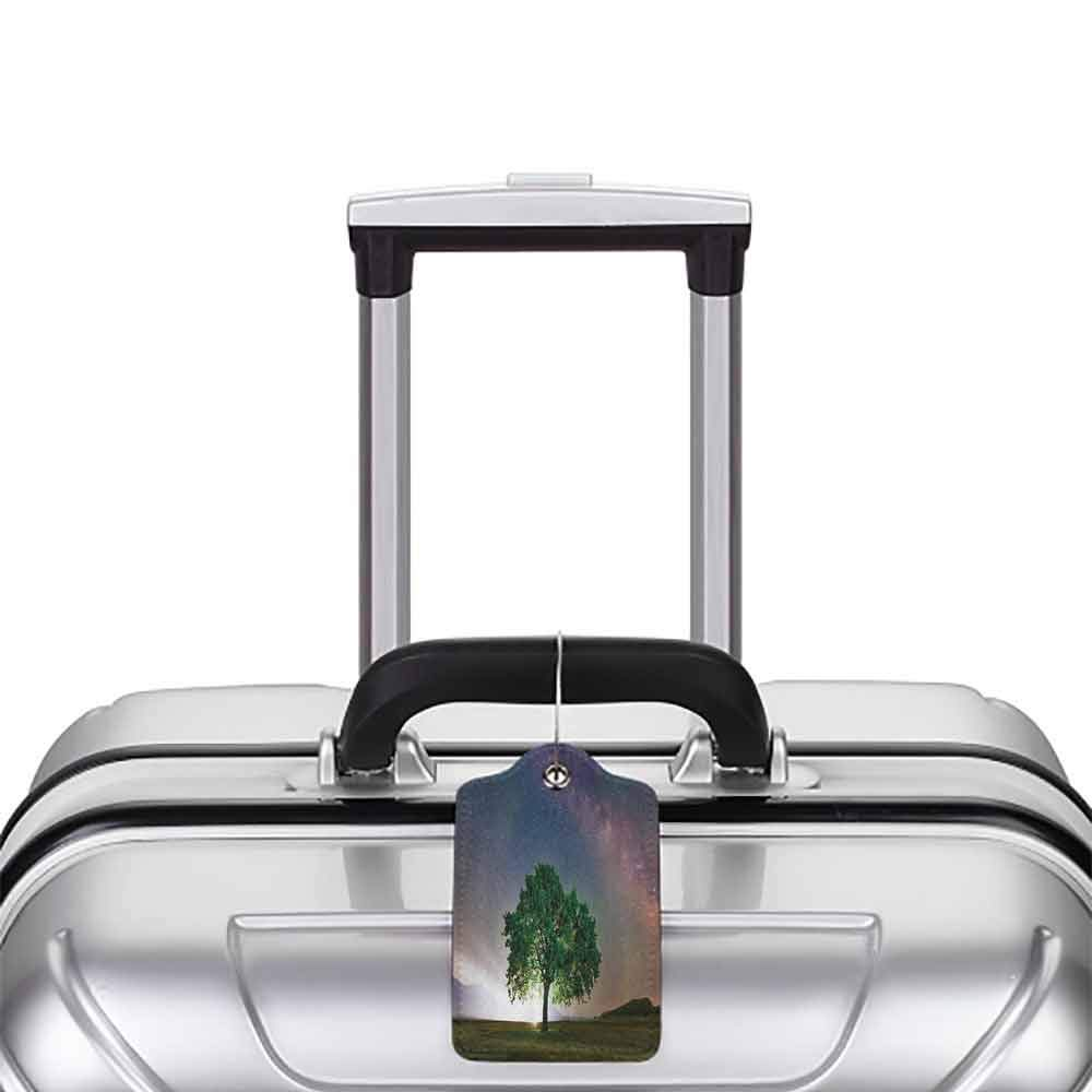 Modern luggage tag Farm House Decor Collection Tree under Milky Way Galaxy Dobrogea Romania Starry Sky Natural Light Picture Suitable for children and adults Green Navy Purple W2.7 x L4.6